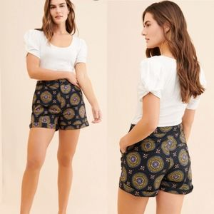 Anthropologie maeve abstract city shorts medallion